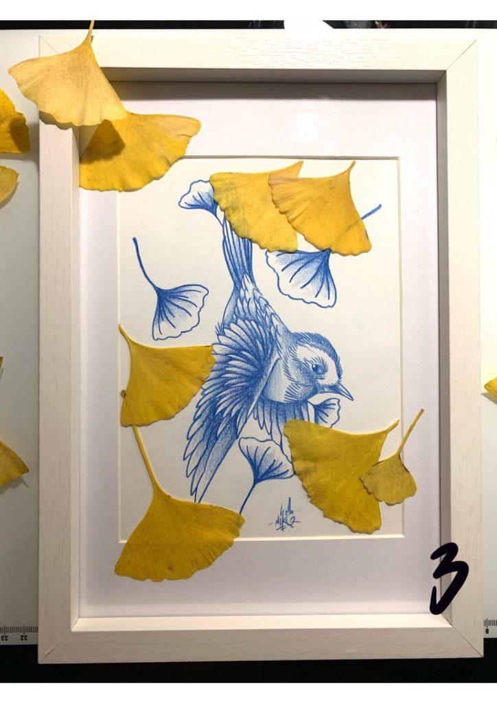 print oiseau avec feuilles de ginkgo