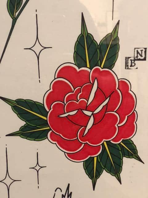 Détail du Print Rose rouge