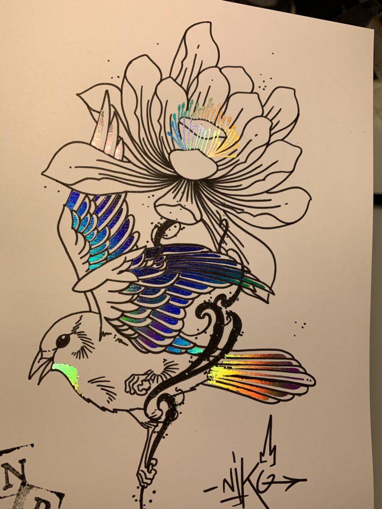 print oiseau holographique multicolore